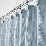 mDesign Luxus Duschvorhang – weicher Badewannenvorhang mit Waffelmuster – leicht zu pflegener Duschvorhang – hellblau