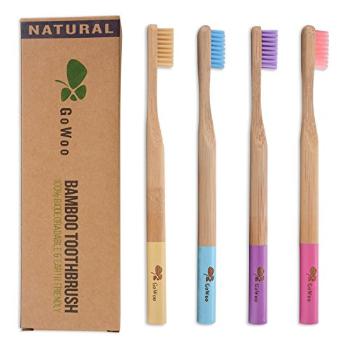 GoWoo 100% Natural Bamboo Toothbrush Soft - Organic Eco Friendly Toothbrushes with Soft Nylon Bristles, BPA-Free, Biodegradable, Dental Care Set (Pack of 4, Adult, Rainbow)