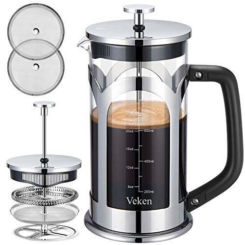Veken French Press Coffee & Tea Maker, 304 Stainless Steel Heat Resistant Borosilicate Glass Coffee Press with 4 Filter Screens, Durable Easy Clean 100% BPA Free, 34oz, Silver
