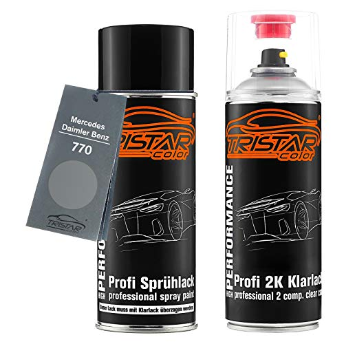 TRISTARcolor Autolack 2K Spraydosen Set für Mercedes/Daimler Benz 770 Himalayas Grey Bright Metallic/Hellgrau Metallic Basislack 2 Komponenten Klarlack Sprühdose