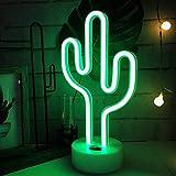 ENUOLI Cactus luces de neón señales LED Cactus luces de neón luces de la noche con la boda de dormitorio habitación USB pedestal sitio de la decoración de la batería Operación Cactus lámparas de neón