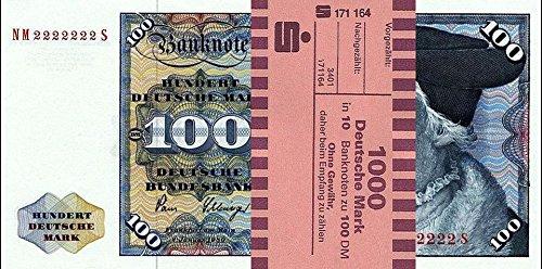 *** 10 x 100 DM, Deutsche Mark, Geldscheine 1980, mit Banderole - Reproduktion ***