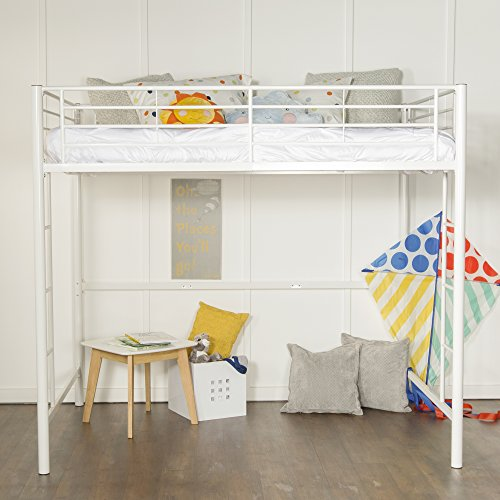 New Full Size Loft Bed-White Metal Finish