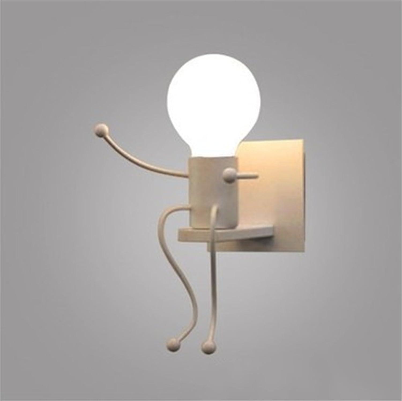 AISHUAIGE Moderne minimalistische Schlafzimmer Nachttischlampe Retro kreative Wohnzimmer Esszimmer Gang Persnlichkeit Cartoon Eisen Bsewicht Wand Lampe