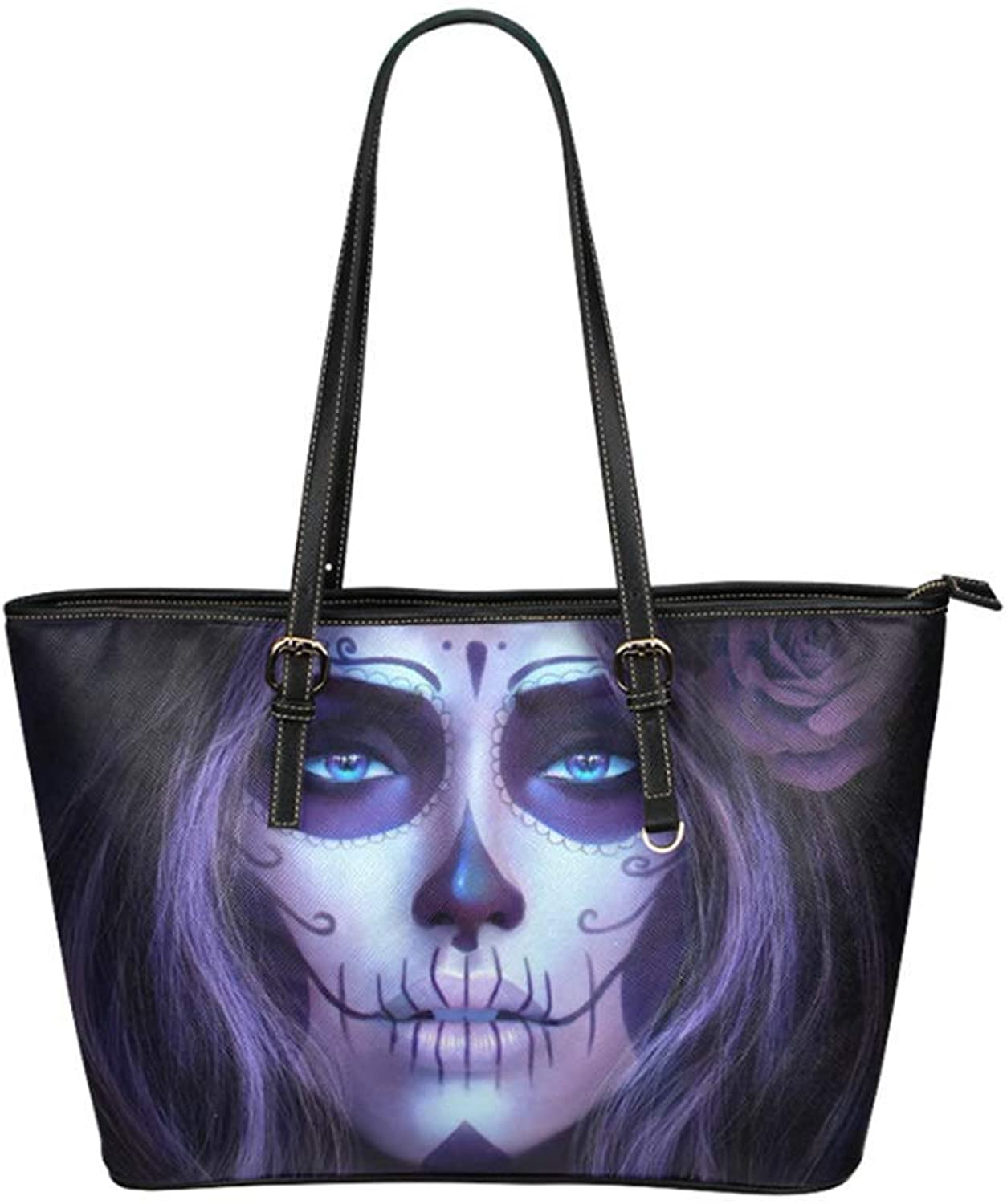 Cucoolso 16  Womens Leather Tote Bag Big Capacity Shopper Should Travel Handbag with Day of The Dead Sugar Skull Print