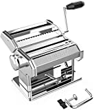 Hand Crank Pasta Maker Machine, Stainless Steel Manual Noodle Maker with 7 Adjustable Thickness and...