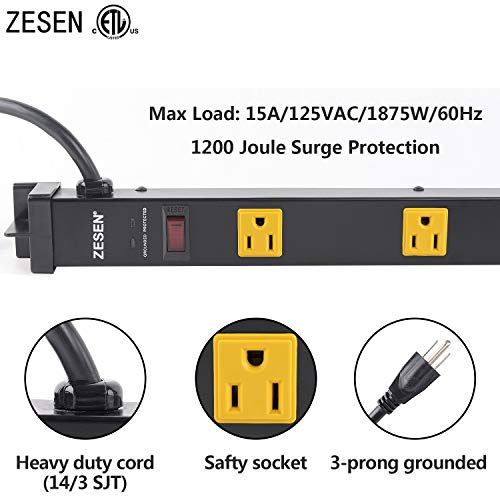 ZESEN 12 Outlet Heavy Duty Workshop Metal Power Strip Surge Protector with 15ft Heavy Duty Cord, ETL Certified, Black 2
