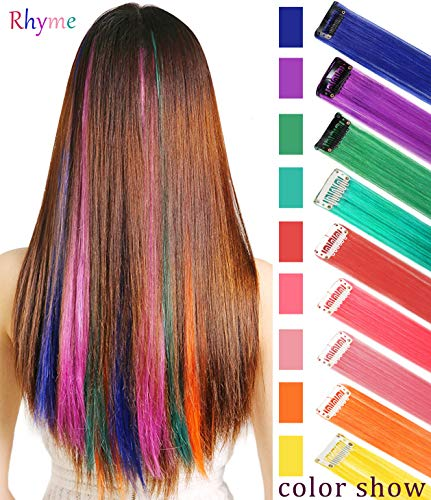 Rhyme Extensions de Cheveux Arc-en-Ciel Extensions de Cheveux colorés Clip in / on pour Filles et poupées Cheveux Accessoires Perruque pièces pour Enfants 9 PCS