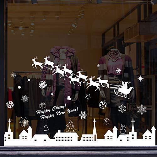 Bukely Pegatinas de Navidad, Navidad Decoracion Navidad Copo de Nieve, Pegatinas de Pared calcomanías de Ventanas Escaparate, Tienda, Oficina (2 Hojas X 30 * 90cm) (D)