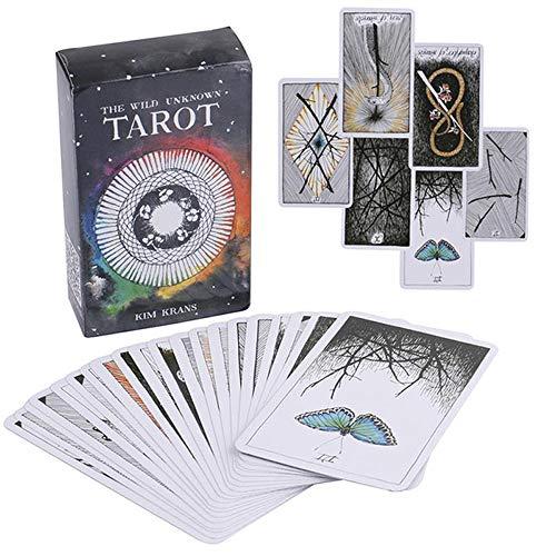 zhuangyulin6 Cartas del Tarot, inglés Mazo de Tarot Desconocido Salvaje Tótem Animal mágico Cartas del Tarot Juego de Mesa Cartas de Adultos Orientación del Juego 78 Cartas/Juego