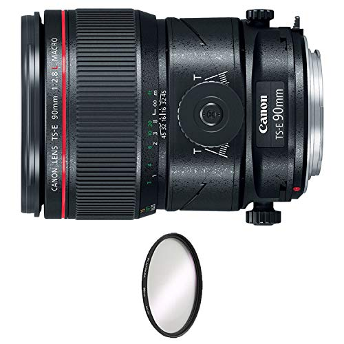 Canon TS-E 90mm f/2.8L Macro Tilt-Shift Lens + UV Protective Filter Combo (International Model)
