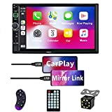 Double Din Car Stereo Audio Receiver Compatible with Carplay and Android Auto, 7-Inch HD Touchscreen with Voice Control, Mirror Link, Backup Camera, Steering Wheel, Bluetooth, AM/FM, USB/TF/AUX Port