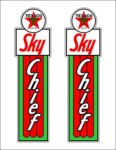 Pair of 22' X 6' Texaco Sky Chief Gas Oil Vinyl Decal Lubester Sides Oil Pump Lubster Restoration…