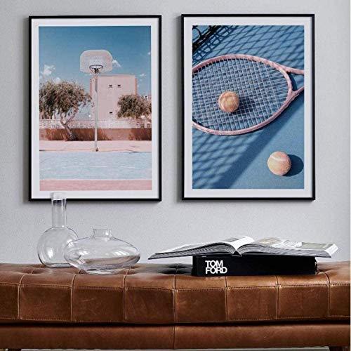 Impresión de carteles Tenis Asientos azules Plan de baloncesto Arte de la pared Impresiones de carteles Pintura deportiva Carteles Decoración de la pared Regalo alentador 2x20x30cm sin marco