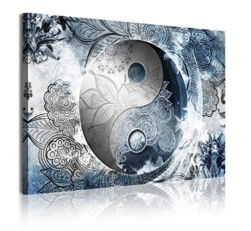 DekoArte 372 - Cuadros Modernos Impresión de Imagen Artística Digitalizada | Lienzo Decorativo Para Tu Salón o Dormitorio | Estilo Ying Yang Abstractos Zen Colores plata azul | 1 Piezas 120 x 80 cm