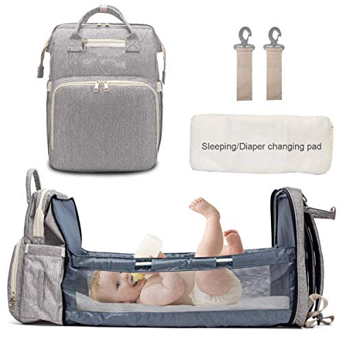 3 in 1 Travel Bassinet Baby Diaper Bag Backpack with Built in Folding Crib, Diaper Backpack Changing Station Gray