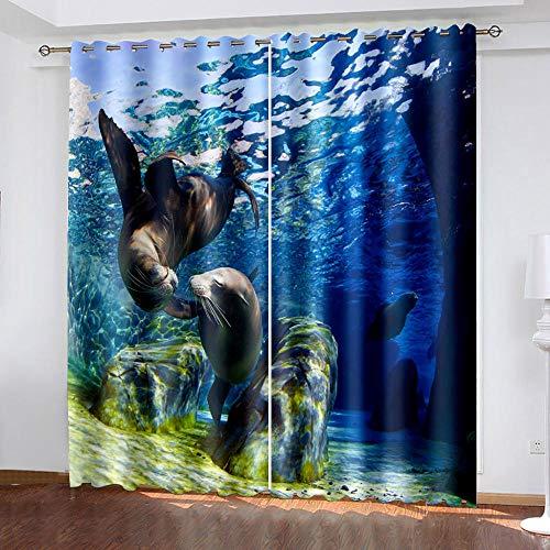 DRFQSK Cortinas Opacas para Ventanas Salon Dormitorio Infantil 3D Foto De Delfines Patrón Cortinas Aislantes Termicas Frio Y Calor con Ojales 132 X 214 Cm(An X Al) 2 Piezas Reduccion Ruido