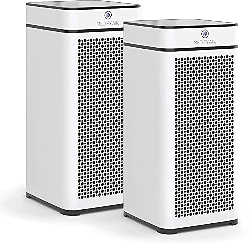 Medify MA-40 Air Purifier with H13 True HEPA Filter   840 sq ft Coverage   for Smoke, Smokers, Dust, Odors, Pet Dander   Quiet 99.9% Removal to 0.1 Microns   White, 2-Pack