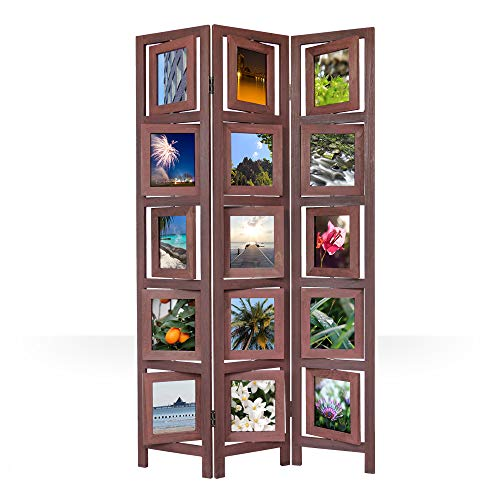 Homestyle4u 972, Foto Paravent Raumteiler 3 teilig, Fotowand Holz, Braun