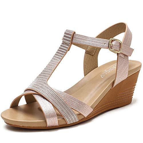 XIANGLV Cuñas Sandalias de mujer Sandalias de tacón alto Pendiente bohemia con zapatos romanos Verano de mujer Tiras de punta cerrada Talla plana Flops (champagne, numeric_36_point_5)