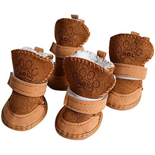 Dog Boots Paw Protector, Anti-Slip Dog Shoes,Dog Australia Boots Pet Antiskid Shoes Winter Warm Skidproof Sneakers, for Small Dog (#5, Brown)