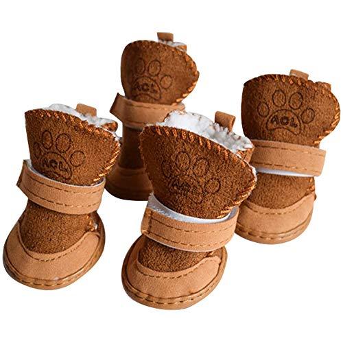 BESUNTEK Warm Winter Little Pet Dog Boots Skidproof Soft Snowman Anti-Slip Sole Paw Protectors Small Puppy Shoes 4PCS (XL, Brown)