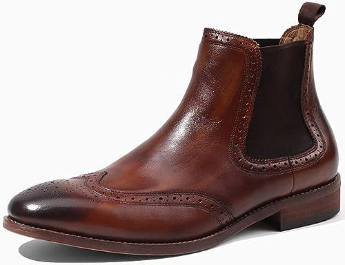 LEFT&RIGHT Bottes en en Cuir pour Hommes Bottines Chelsea Zip Up Work Formal Cheville Bottes Motard Cowboy Chaussures  Commandez maintenant