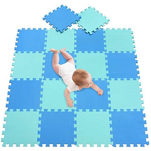 meiqicool Alfombra Puzzle para Niños Bebe Infantil, esteras de 30x30 cm, 18 Piezas en Espuma EVA años Alfombra puzle Goma Espuma Azul Turquesa 0708