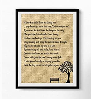 A Limb Has Fallen from Our Family Tree | Wall Art Sympathy Gift | Family Loving Memorial Gift