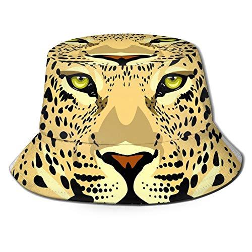 GAHAHA Fischerhut für Herren, Leopardenmuster, tragbar, Sonnenschutz, UV-Schutz, Unisex, faltbar, Sommerhut