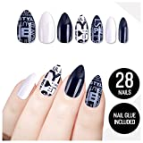 Tip Beauty Black White Fake Nail Kit, Affirmation, Faux Nails, Fake Nails, Glue on Nails, Instant Nails, Professional Nail Tips, False Nails with Glue - MSRP $18