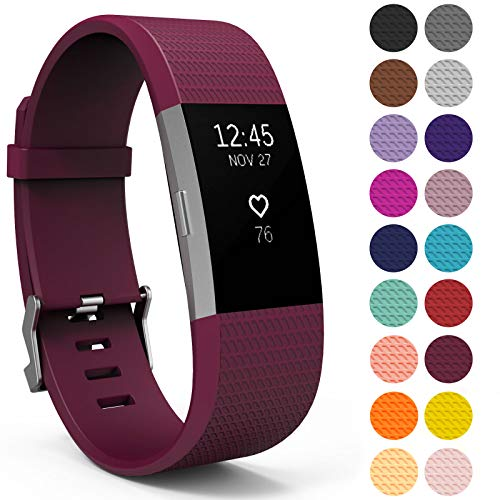 Yousave Accessories® Correa Compatible con Fitbit Charge2, Pulsera Deportiva de Silicona de Repuesto Compatible con para Fitbit Charge 2 - Grande - UVA orgánica