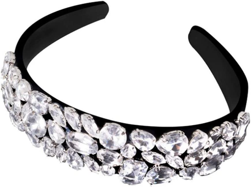 niumanery Fashion Women Wideside Headband Luxury Rhinestone Decor Head Hoop Hair Band