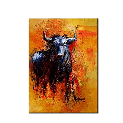 Gbwzz Corrida de toros Lona Pintura al óleo Abstracta de la Pared del Arte de la Lona de la Pintura del Caballo Imagen de la Pared Decorativa para la habitación,120x200cm