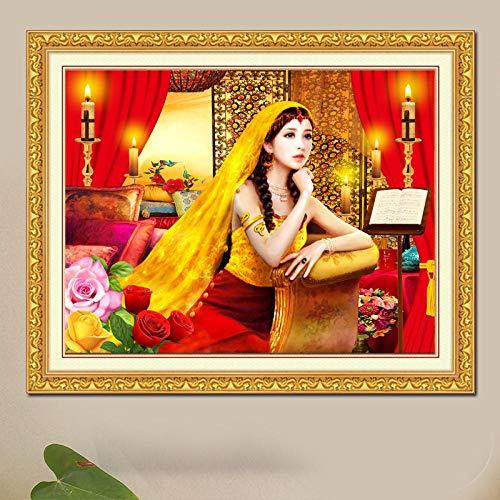 Diamant-schilderij 5D knutselen diamant kaars meisje 50 x 40 cm borduurwerk strass kristal kruissteek cadeauset