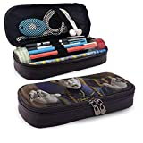 Estuche para lápices Cute Chinese Zombie Mad Giant Themed Pattern Mini School Pencil Case Holder Pouch Office Pen Box Zipper Bag Set Pu Leather Zip for Girls Boy Accesorios