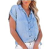 Women's Summer Short Sleeve Denim Shirt Plus Size Loose Button Down Faux Jeans Blouses Lapel V Neck Casual Tops with Pockets Blue