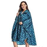 Photo de Summer Mae Imperméable Poncho avec Capuche Zip pour Adulte Cape Bleu Large
