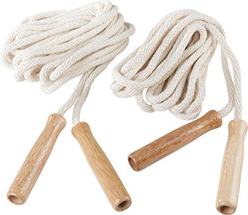 Sport-Thieme Double-Dutch Seile | Springseil-Set für Seilspringen, Gruppenseilspringen und Rope-Skipping | 4,8 m lang | Baumwolle mit Holzgriffen | 300 g | Markenqualität