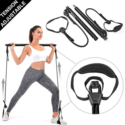 Pilates Bar, Wastou Portable Pilates Bar Kit with Adjustable Resistance Band for Different Height, Home Gym Exercise Stick Yoga Bar with Foot Loop for Hipsline, Stretching, Muscle Toning (Black)