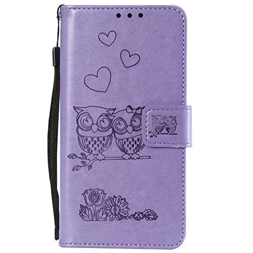 Miagon für Huawei P40 Pro Hülle,Geprägt Eule Blumen Herz Muster Pu Leder Ständer Flip Schutzhülle Tasche Brieftasche Etui mit Magnetverschluss Kartenhalter