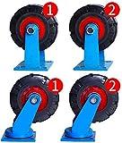 BJLWTQ CNC TORTHE, 4 Castor Wheels Heavy Duty Ruedas giratorias de Ruedas de Goma Ruedas for la Tabla de Muebles de la Carretilla de la Cama Banco de Trabajo, de 8 Pulgadas Ruedas (Azul)