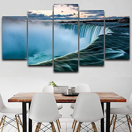 Yuanyuan Art Wall Painting Leinwand Wohnzimmer 5 Panel Naturlandschaft des Grand Canyon Wasserfalls Malerei Wand Home Decor Poster Wohnzimmer Küche Moderne HD Gedruckt Kunst Bilder ohne Rahm100X55CM