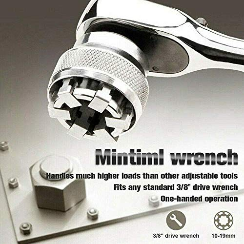 Minti Wrench Wiht Handle Adaptive All-Fitting Multi Drill Attachment Universal Socket, Professional 3/8 Inch to 3/4 Inch 10mm-19mm Universal Sockets Tools Gifts Best for Men