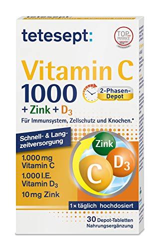 tetesept Vitamin C 1000 + Zink + D3 - Nahrungsergänzungsmittel zur Unterstützung des Immunsystems, dem Zellschutz und der Knochen - Vitamin Tabletten - 1 x 30 Tabletten