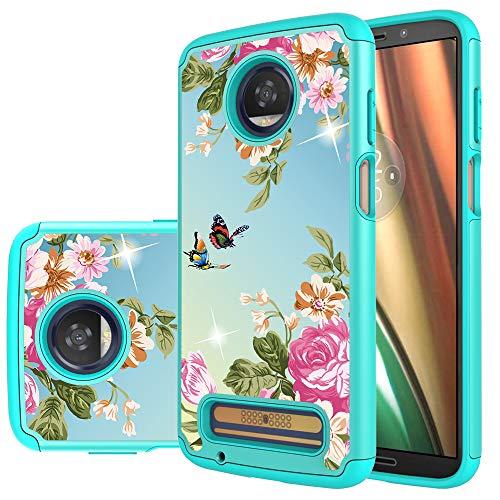 Moto Z3 Case, Moto Z3 Play Case,Yiakeng Dual Layer Hard Slim Glitter for Girls Women Wallet Phone Cover Cases for Motorola Moto Z3 (Green Flower)