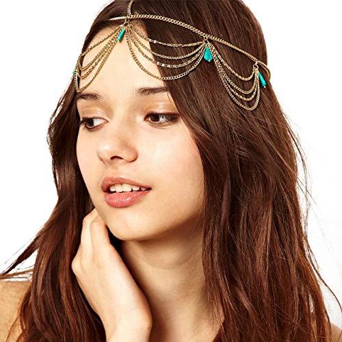 Metme Damen Crossover Haarbänder Flapper 1920er Jahre Accessoires Stirnbänder mit Quasten Pailletten Gatsby Schmuck Gold