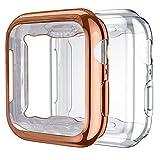 Upeak 2 Paquetes Compatible con Apple Watch Series SE/6/5/4 Funda 40mm, TPU Protector de Pantalla Compatible con iWatch, Claro/Oro Rosa
