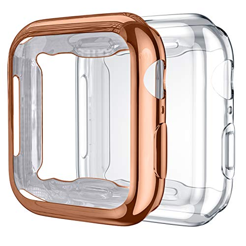 Upeak 2 Paquetes Compatible con Apple Watch Series SE/6/5/4 Funda 40mm, TPU Protector de Pantalla Compatible con iWatch, Claro/Oro Rosa