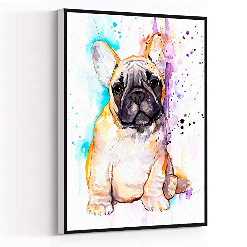 CANVAS WALL ART FOR BEDROOM,black and white wall art,decoration for living room,Baby fawn french bulldog watercolor painting,12''x18'' Framed Modern Canvas Wall Art,